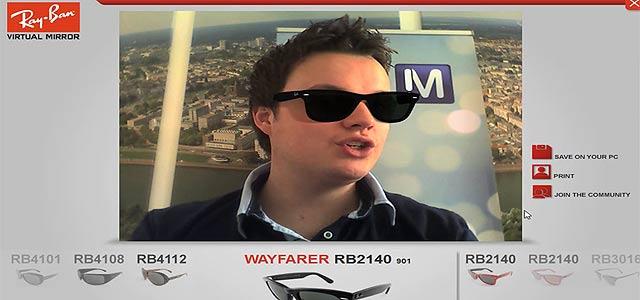 ウェブカメラ で画面上に表示した自分の顔に、眼鏡のリアルな3次元データを乗せてファッションチェックが出来る、Ray-BanのVirtual Mirror