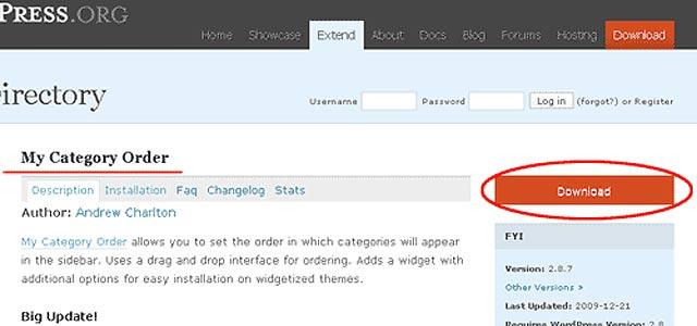 ワードプレス(Word Press)プラグイン:「My Category Order」:カテゴリーの表示順を変更
