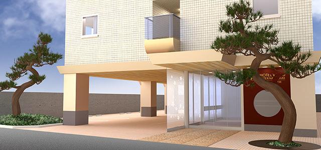 【 3D 】 ホテルの外観パース・客室内装パースの作成 (ホテルウィングインターナショナルプレミアム金沢駅前)